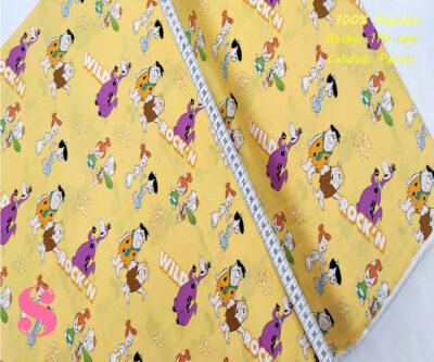 L70-los-picapiedra-fondo-mostaza-patch-americano-tejidos-algodón-estampado-percal,Tejido Estampado Patch Americano Los Picapiedra Fondo Naranja