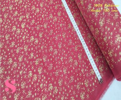 N10-adornos-dorados-fondo-rojo-navidad-manteleria-adornos-tejidos-poliesterestampadol,Arpillera Roja Estampada Adornos Dorados