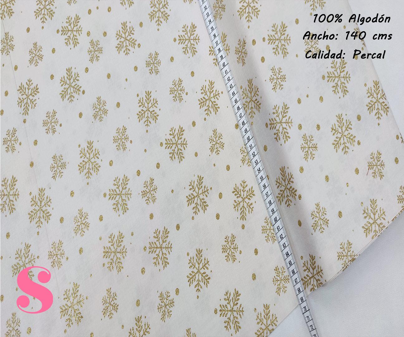 N6-copos-dorados-fondo-blanco-navidad-papa-noel-otoño-cenas-manteleria-decoracion-tejidos-algodón-estampado-percal,Tejido Estampado Copos de Nieve Dorados fondo Crudo