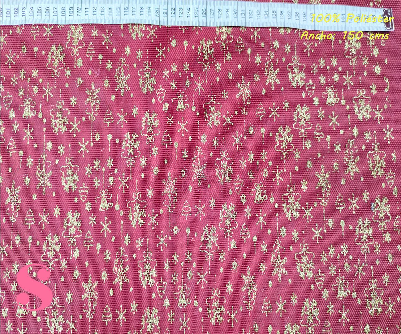 adornos-dorados-fondo-rojo-navidad-manteleria-adornos-tejidos-poliesterestampadol,Arpillera Roja Estampada Adornos Dorados