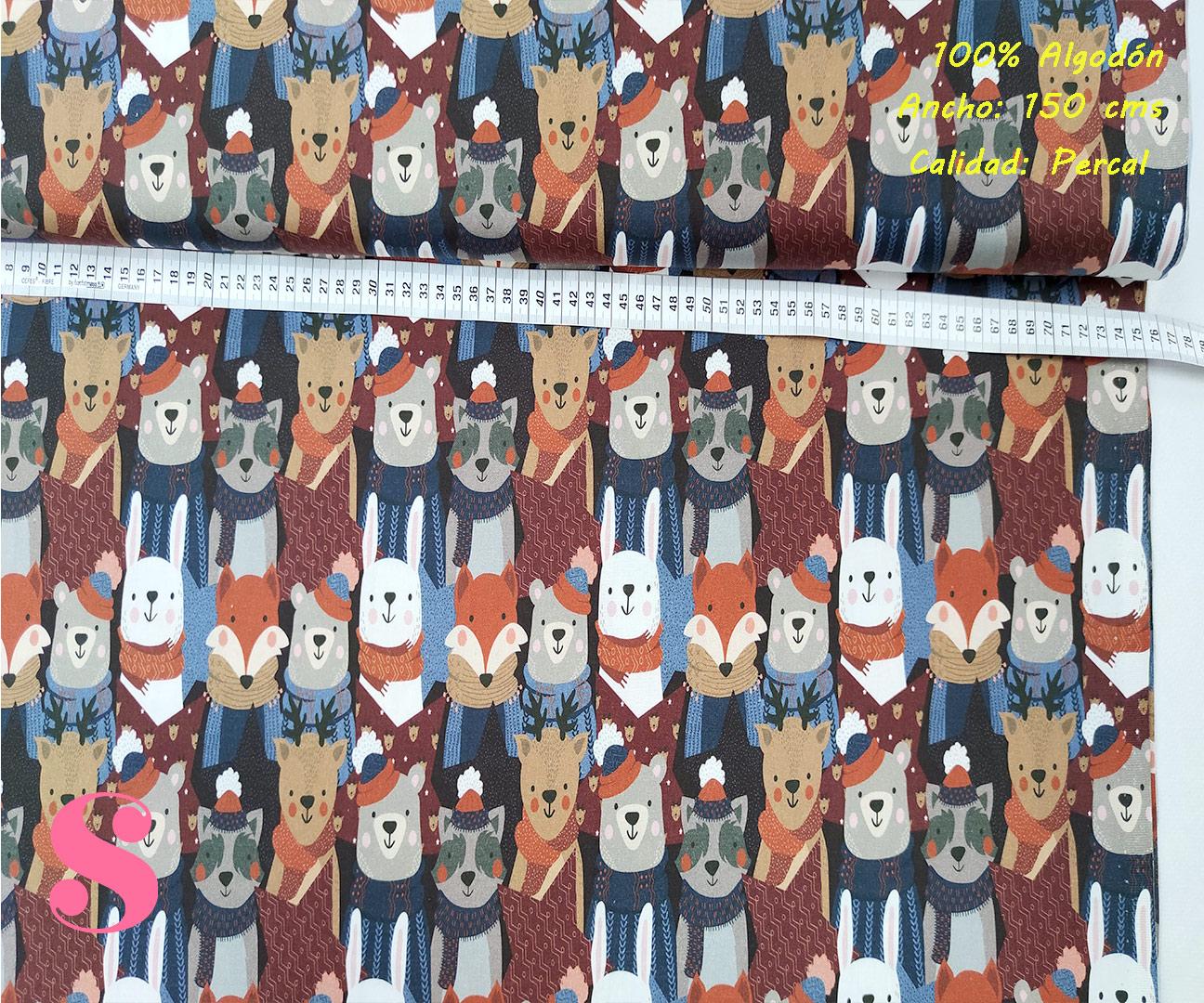N1-animales-bosque-otoño-frio-friki--tejidos-algodón-estampado-percal,Tejido Estampado Animales del Bosque Winter