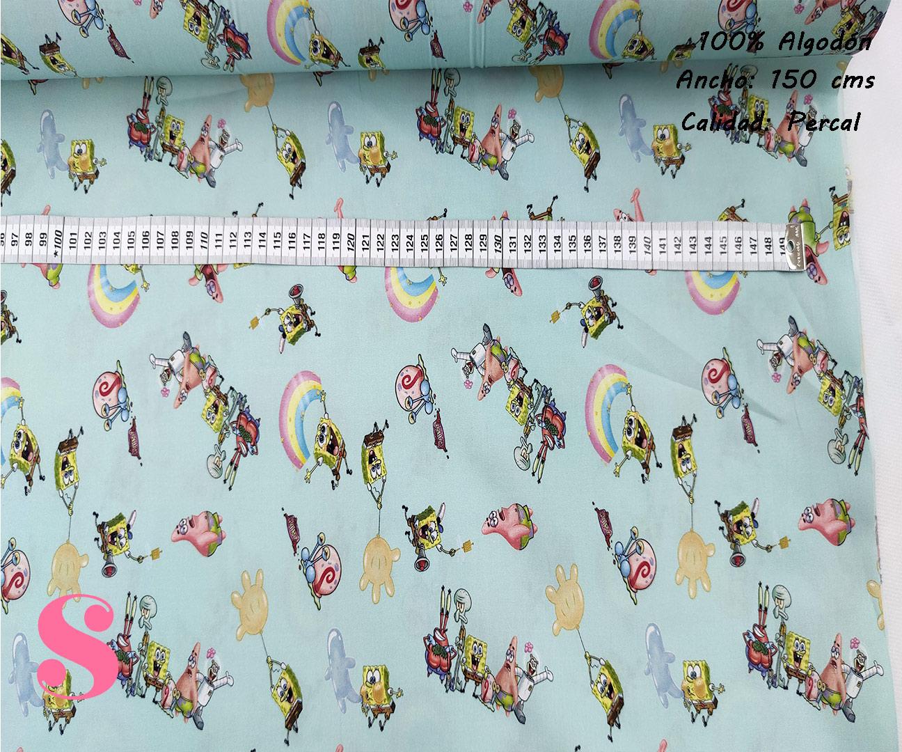 L78-bob-esponja-personajes-friki-americano--tejidos-algodón-estampado-percal,Tejido Estampado Bob Esponja & Amigos