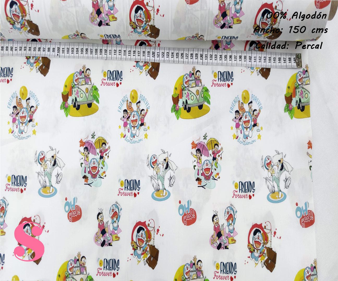 L79-doraemon-personajes-friki--tejidos-algodón-estampado-percal,Tejido Estampado Doraemon Friends Forever