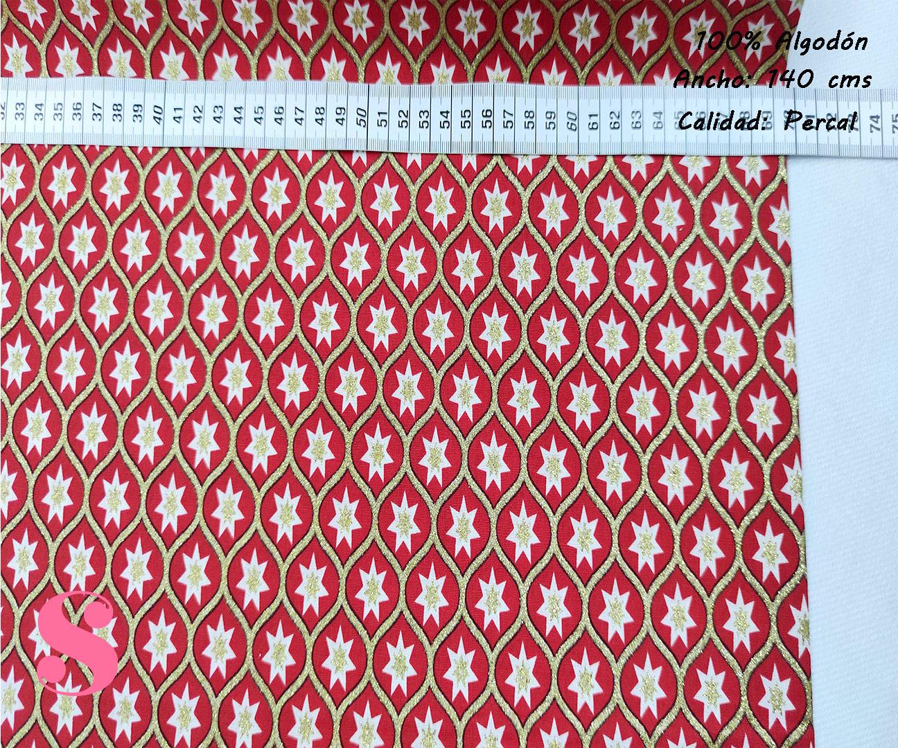 estrella-navidad-fondo-rojo-navidad-papa-noel-otoño-cenas-manteleria-decoracion-tejidos-algodón-estampado-percal,Tejido Estampado Motivos de Navidad Estrella fondo Rojo