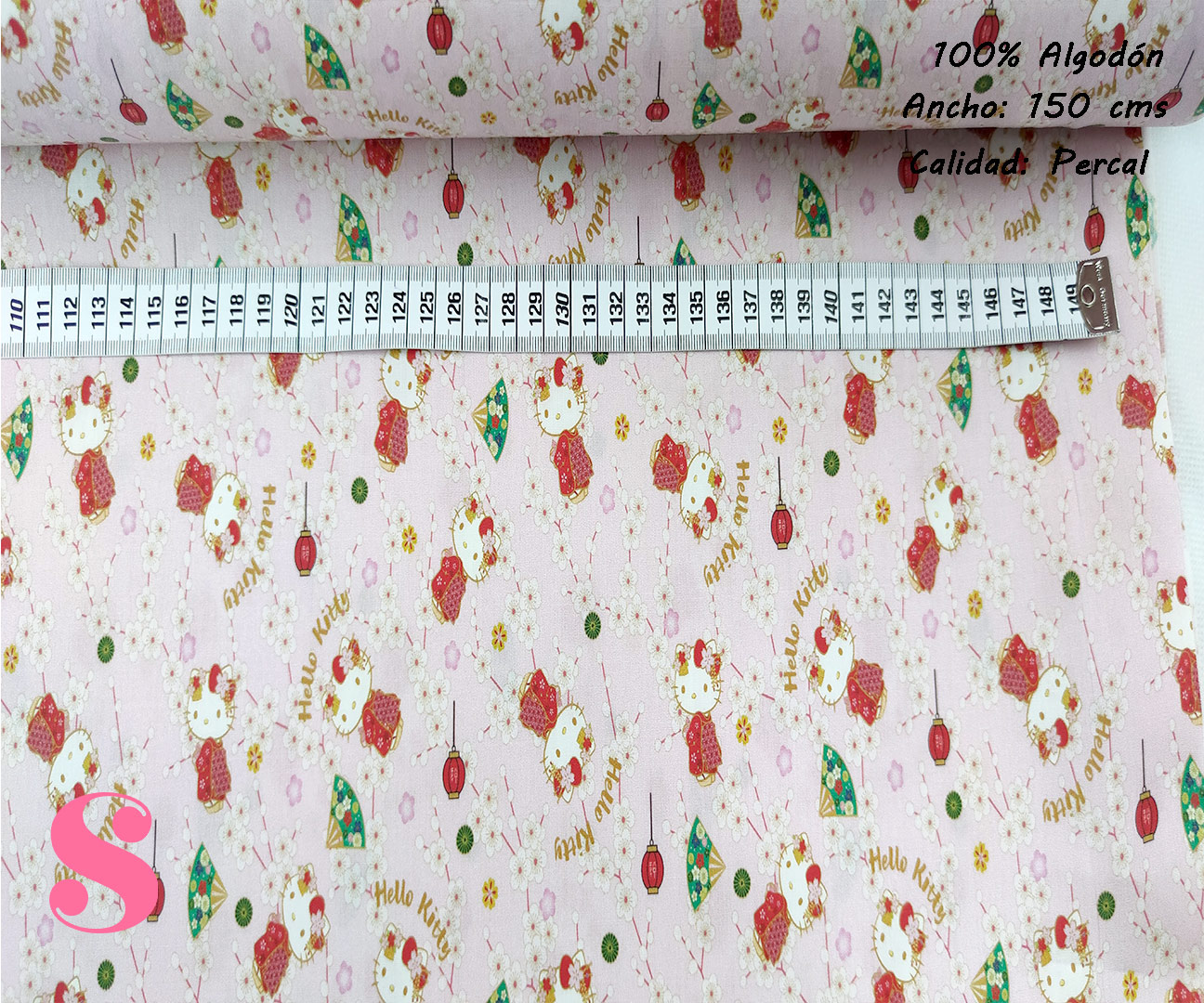 L77-hallo-kitty-geisha-friki-americano--tejidos-algodón-estampado-percal,Tejido Estampado Hello Kitty Geisha