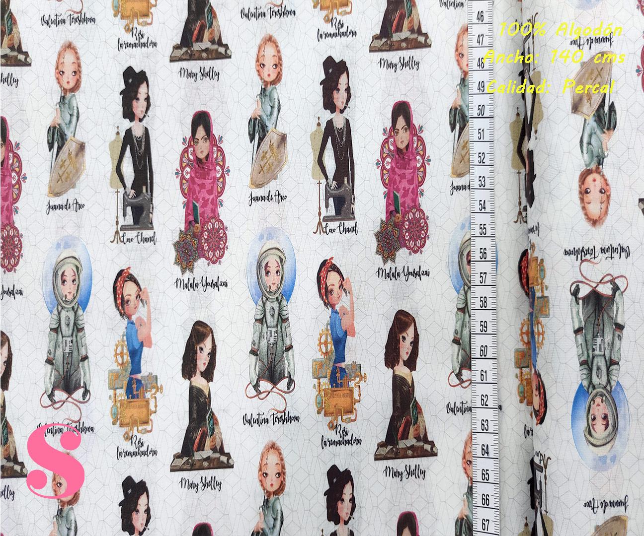 mujeres-historicas-leyendas-tejidos-algodón-estampado-percal,Tejido Estampado Mujeres Históricas
