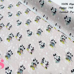 554 Tejido Estampado Mickey y Minnie Beso Fondo Rosa