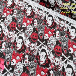 556 Tejido Estampado Personajes Halloween Terroríficos