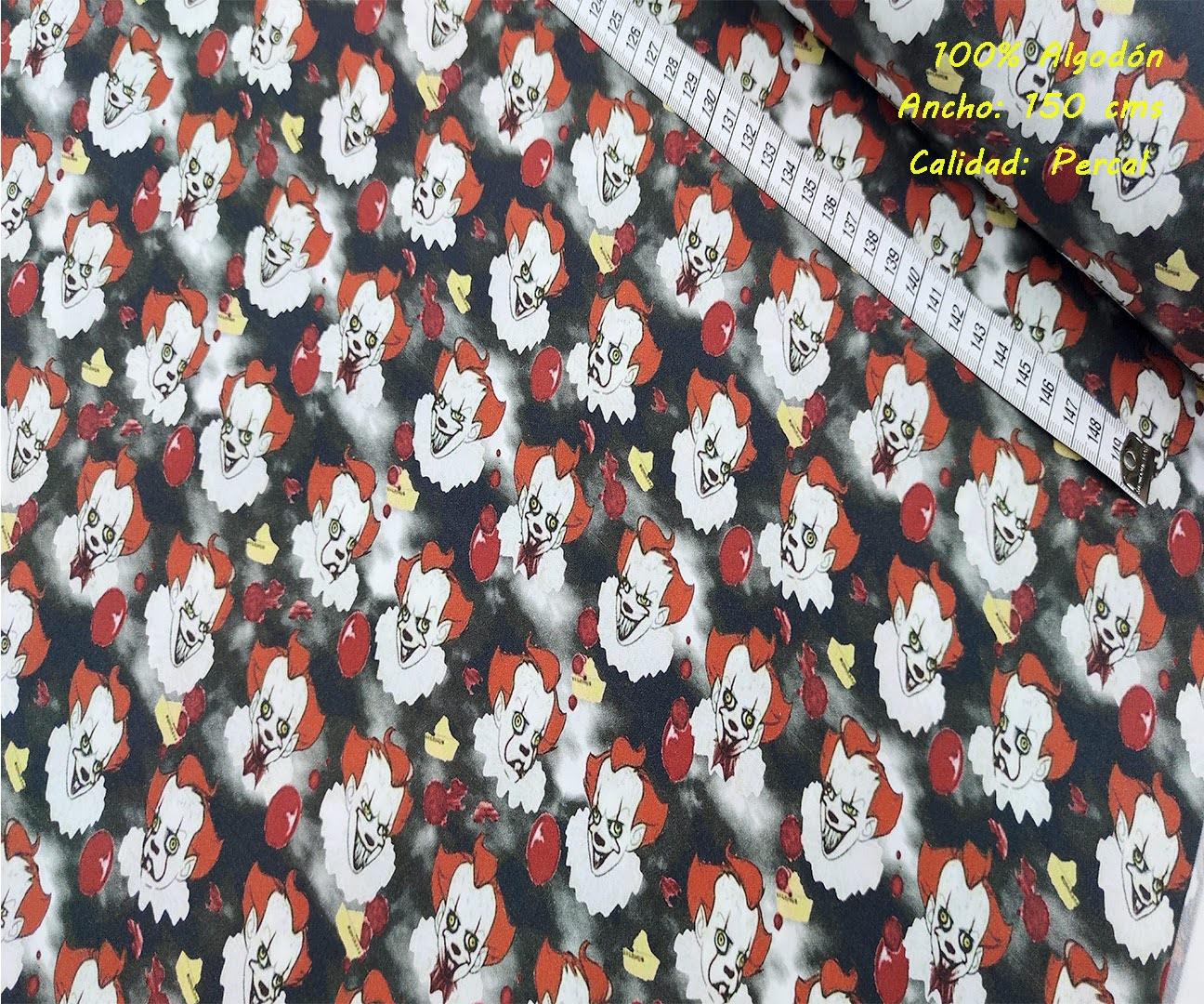 payaso-it-tejidos-algodón-estampado-percal,telas Halloween estampoados mascarillas telas algodon tienda de telas telas baratas