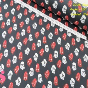 571 Tejido Estampado Star Wars Darth Vader Rojo y Blanco