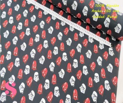 570-star-wars-soldados-tejidos-algodón-estampado-percal,Tejido Estampado Star Wars Darth Vader Rojo y Blanco