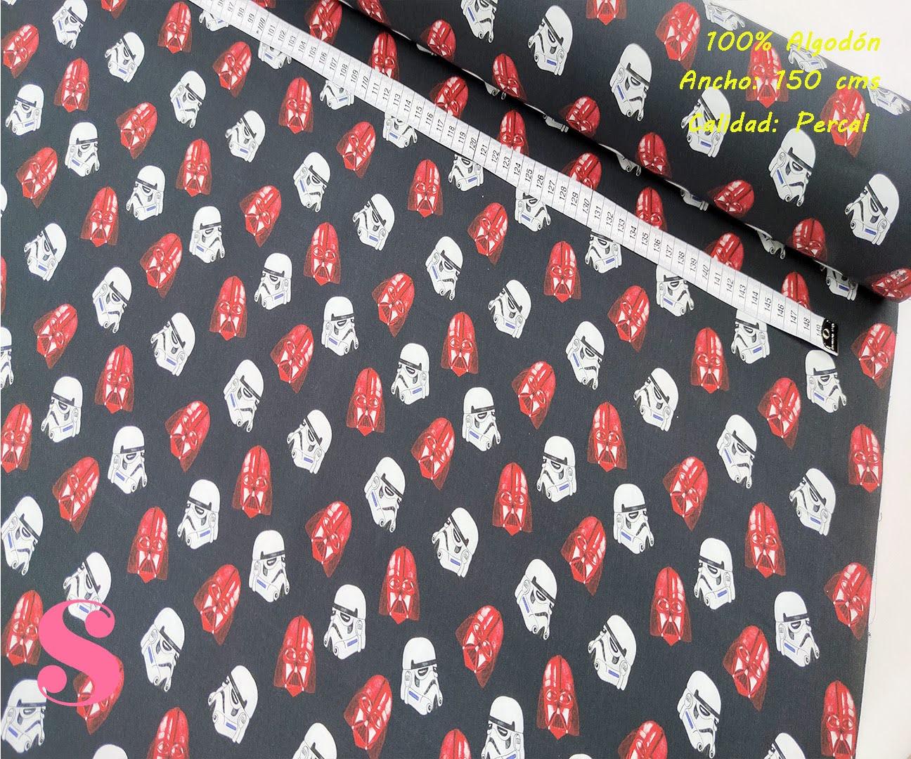 570-star-wars-soldados-tejidos-algodón-estampado-percal,Tejido Estampado Star Wars Darth Vader Rojo y Blanco