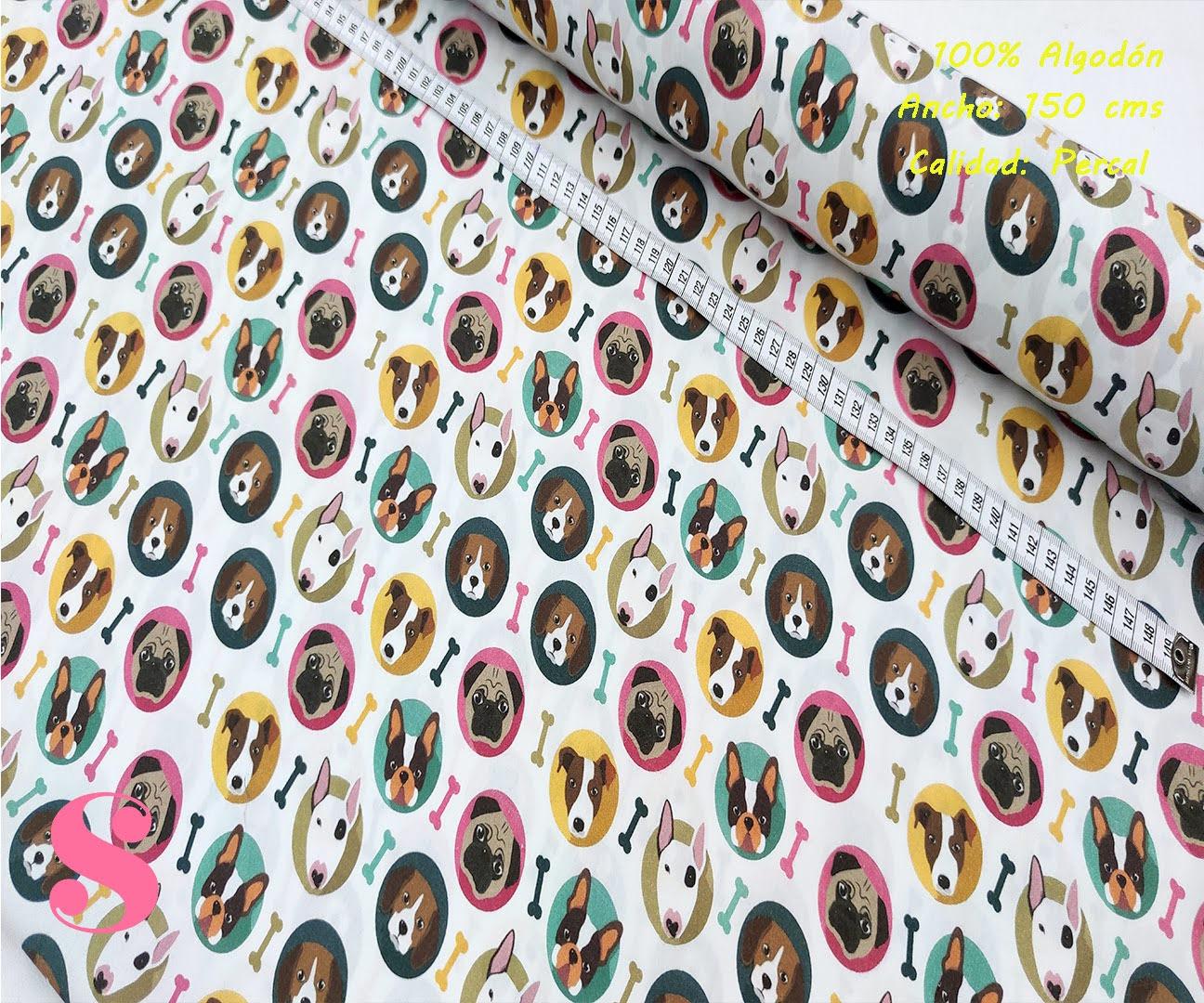 578-perros-stickers-tejidos-algodón-estampado-percal,telas estampadas animales,tejidos estampados mascotas,Tejido Estampado Perros Stikers