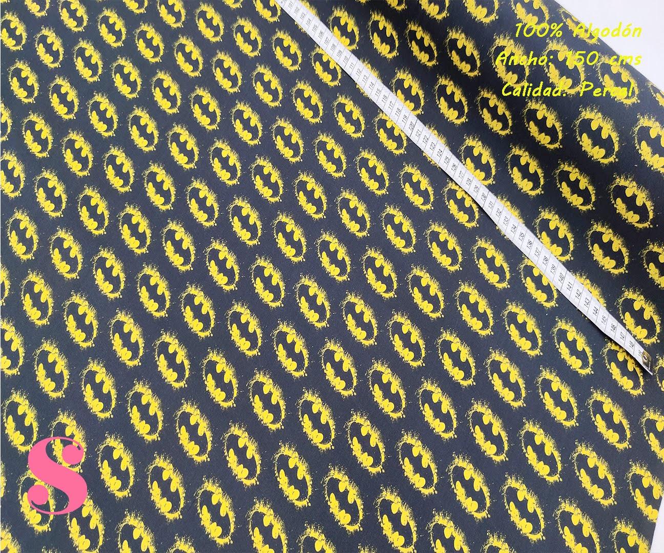 579-batman-logos-tejidos-algodón-estampado-percal,Tejido Estampado Batman Símbolo