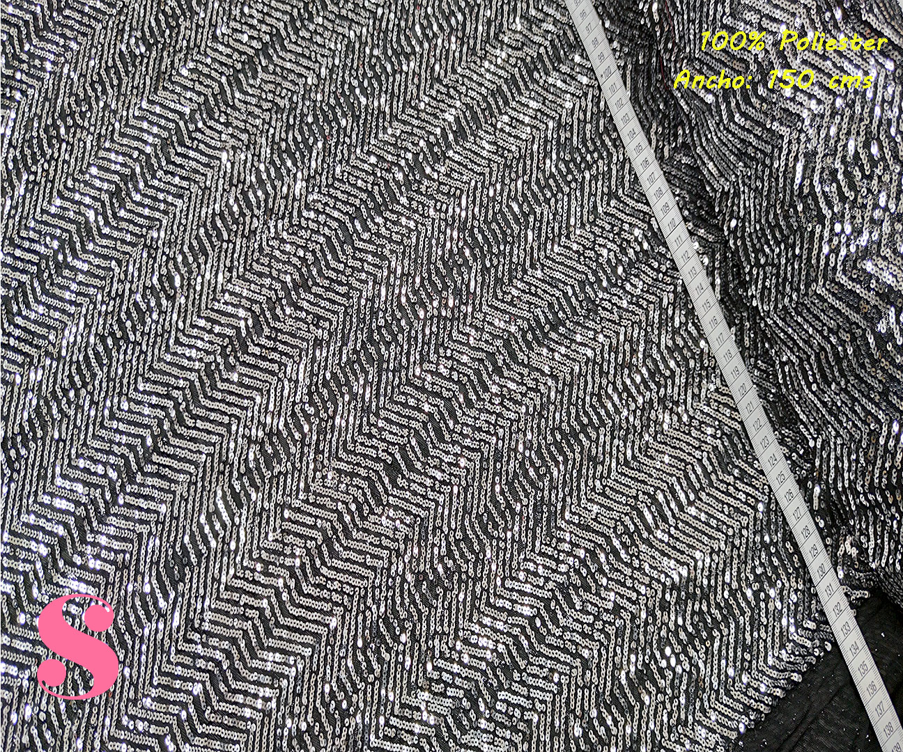 F2-lentejuelas-negro-dori-fiesta-elegante-brillante-poliester,Tejido Lentejuelas Plateadas