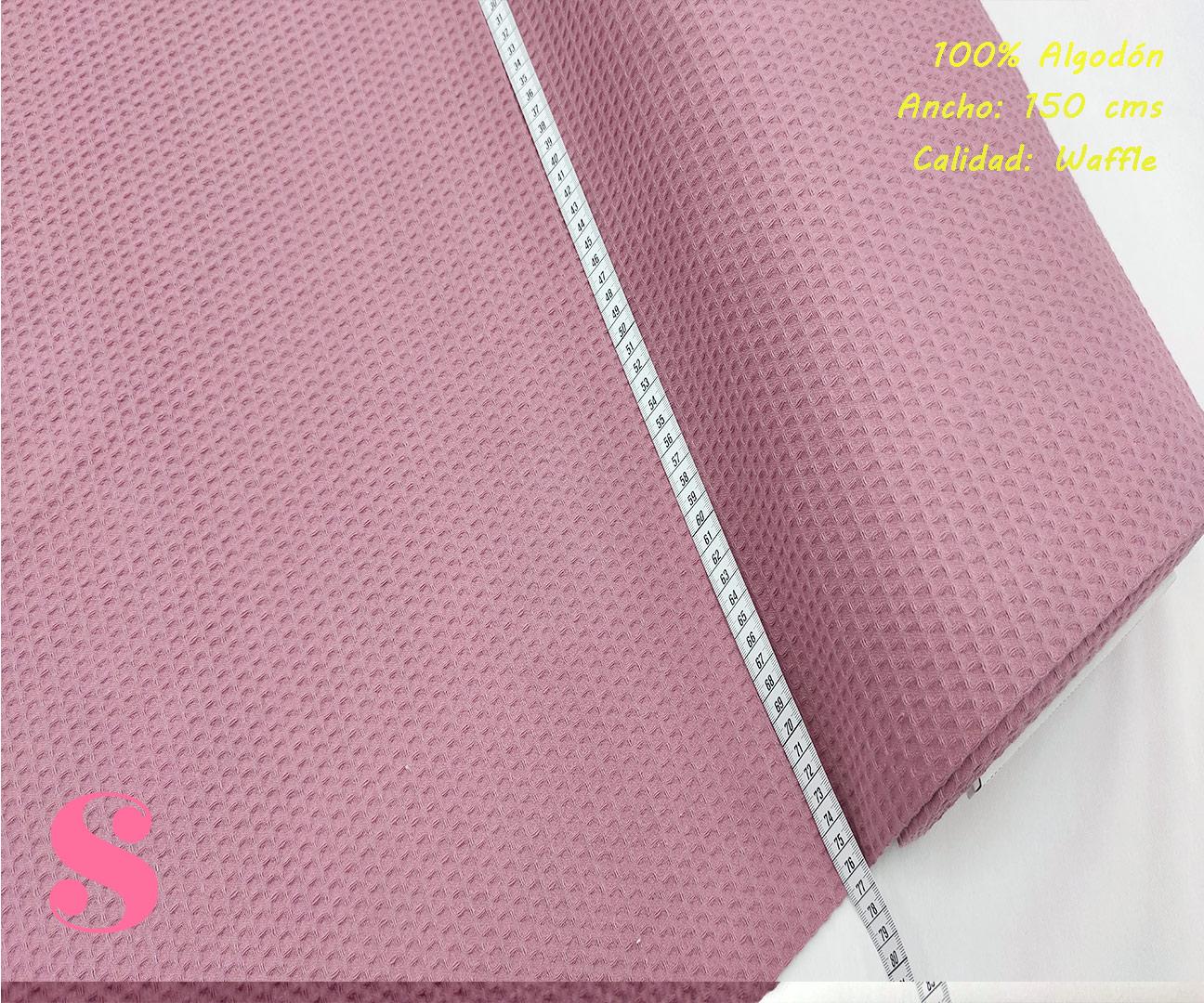 W5-waffle-tela-invierno-toalla-relieve-cuadros-gofre-algodon,Wafel Cuadrados Rosa
