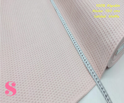 W6-waffle-tela-invierno-toalla-relieve-cuadros-gofre-algodon,Wafel Cuadrados Rosa Pálido