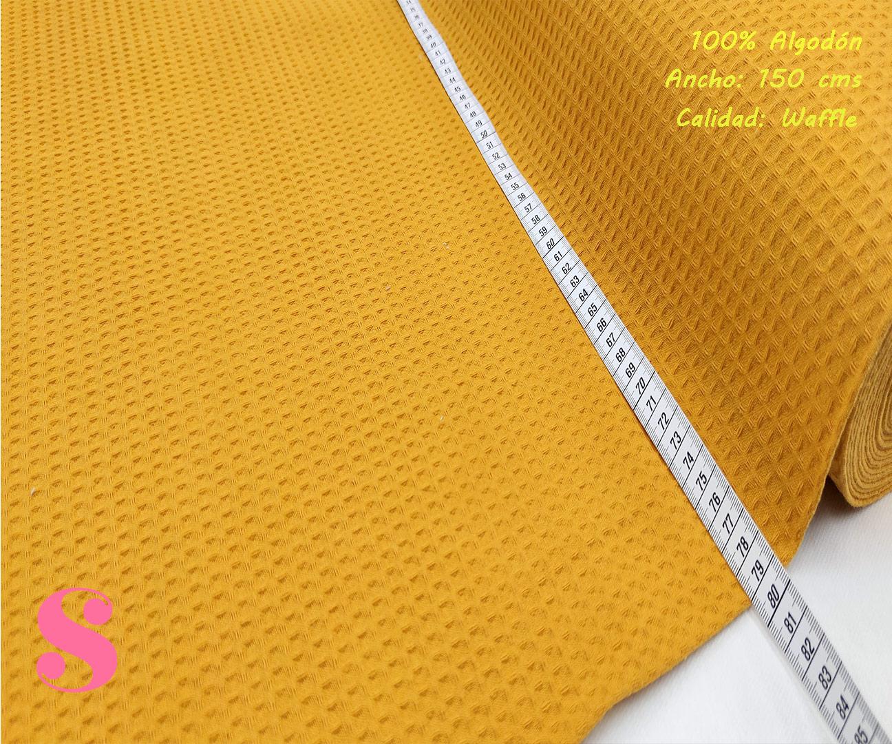 W7-waffle-tela-invierno-toalla-relieve-cuadros-gofre-algodon,Wafel Cuadrados Mostaza