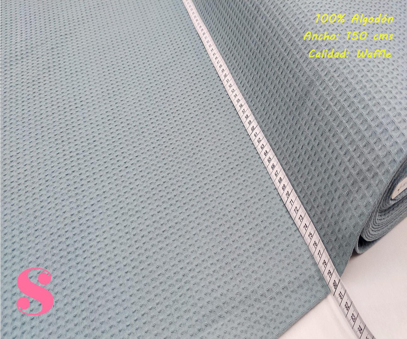 W8-waffle-tela-invierno-toalla-relieve-cuadros-gofre-algodon,Wafel Cuadrados Azul Agua