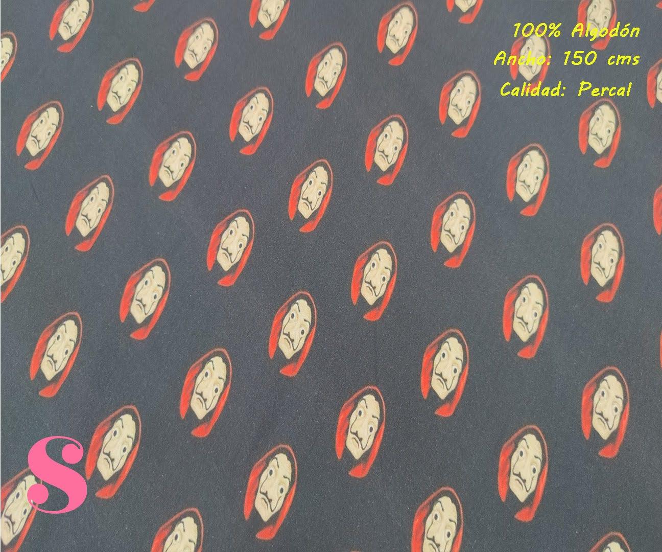 587-casa-de-papel-dali-tejidos-algodón-estampado-percal,Tejido Estampado Casa de Papel