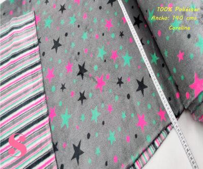 coralina-estrellas-rayas-poliester-Sudaderas-prenda-de-vestir-en-casa-mantas-y-antipilling,Coralina Estampada Doble Cara Estrellas-Rayas Reversible