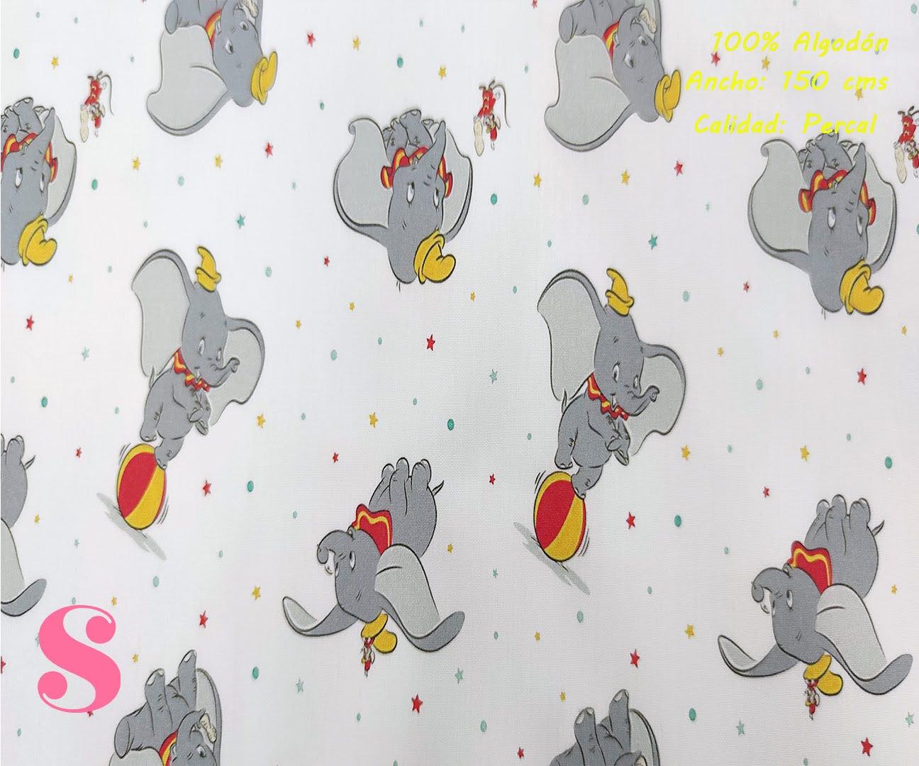 elefante-dumbo-tejidos-algodón-estampado-percal,Tejido Estampado Dumbo