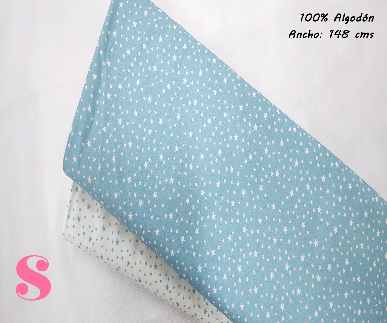 estrellitas-fondo-azul-celeste-tejidos-algodón-estampado-popelin,Tejido Estampado Estrellitas Fondo Azul Celeste