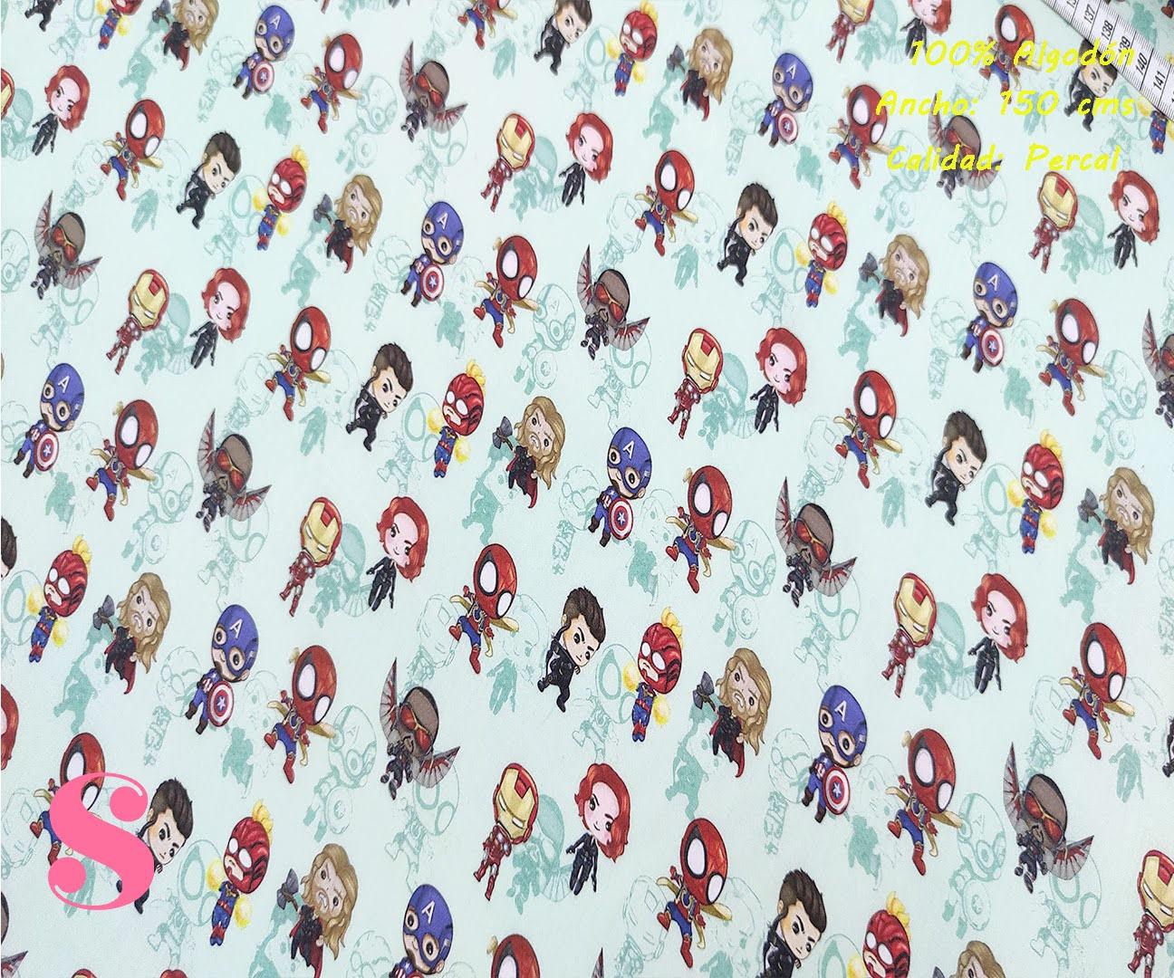 573-marvel-mini-personajes-tejidos-algodón-estampado-percal,Tejido Estampado Mini Personajes Marvel