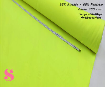 sarga-verde-fluorescente-alta-visibilidad-hidrofuga-antibacteriana-homologada-certificada-poliester-algodon,Sarga Hidrófuga Antibacteriana Verde Fluorescente