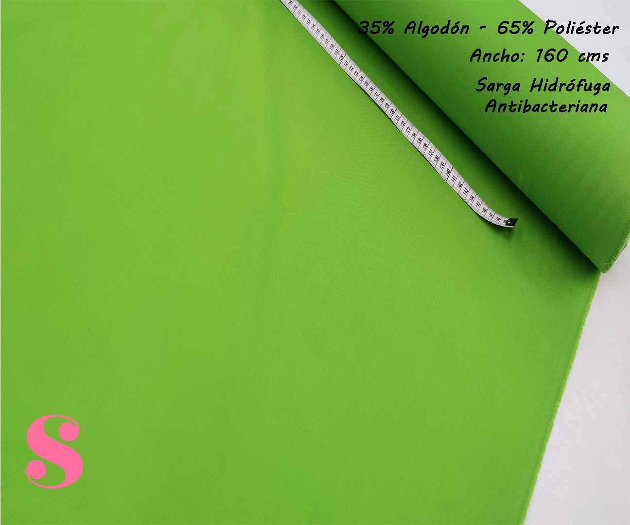 sarga-verde-hidrofuga-antibacteriana-homologada-certificada-poliester-algodon,Sarga Hidrófuga Antibacteriana Verde