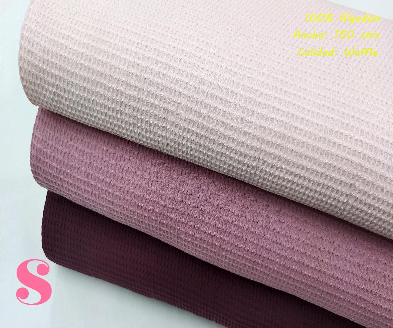 W4-waffle-tela-invierno-toalla-relieve-cuadros-gofre-algodon,Wafel Cuadrados Burdeos