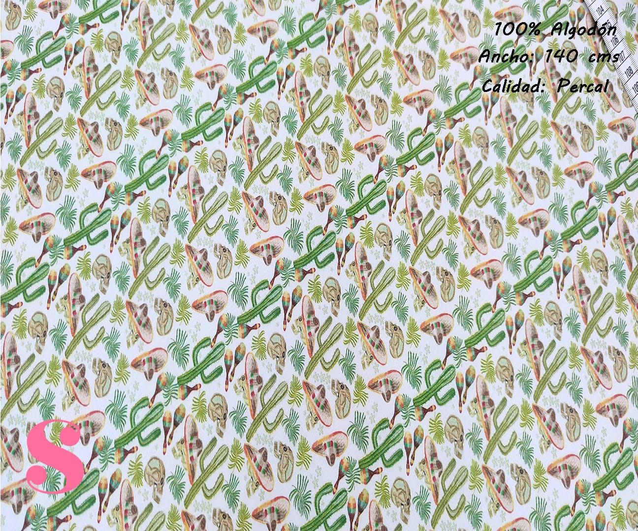 590-cactus-tejidos-algodon-estampado-percal,Tejido Infantil Estampado Cactus Mejicanos