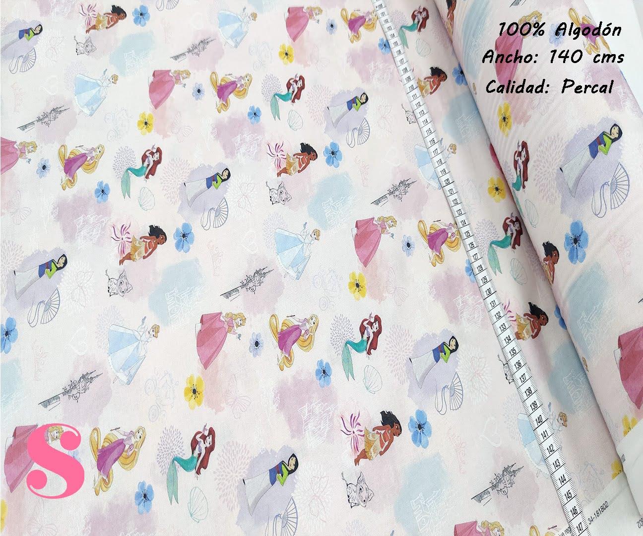 591-princesas-disney-fondo-rosa-tejidos-algodon-estampado-percal,Tejido Infantil Estampado Princesas Disney fondo Rosa