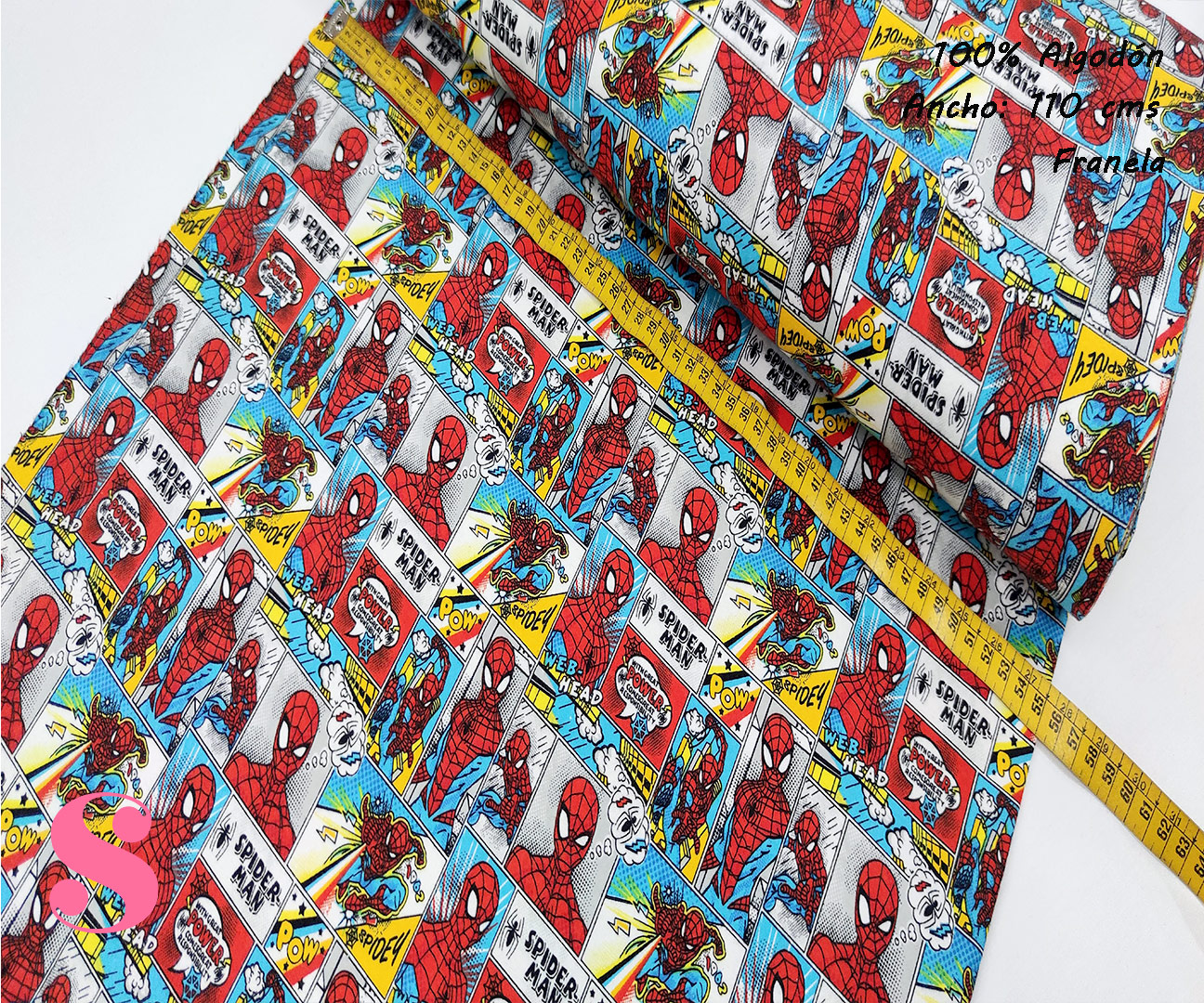593-comic-spiderman-accion-america-franela-otoño-invierno-tejidos-algodón-estampado-percal,Franela Estampada Comic Spiderman