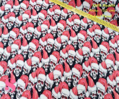 612-papa-noel-calaveras-tejidos-algodón-estampado-percal,estampados de moda,telas calaveras estampadas de moda,Tejido Estampado Calaveras Papa Noel