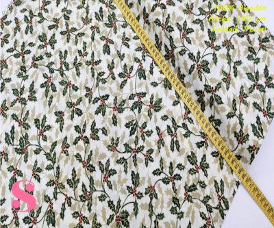 622-hojas-navideña-fondo-blanco-navidad-tejidos-algodón-estampado-percal,Tejido Estampado Hoja de Acebo fondo Beige