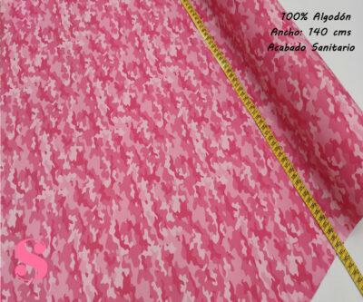 H13-camuflaje-rosa-acabado-sanitario-hidrofugado-tejidos-algodón-estampado-percal,tela estampada con acabado sanitario,tejido estampado con certificado,Estampado Hidrófugo Antibacteriano Camuflaje Rosa