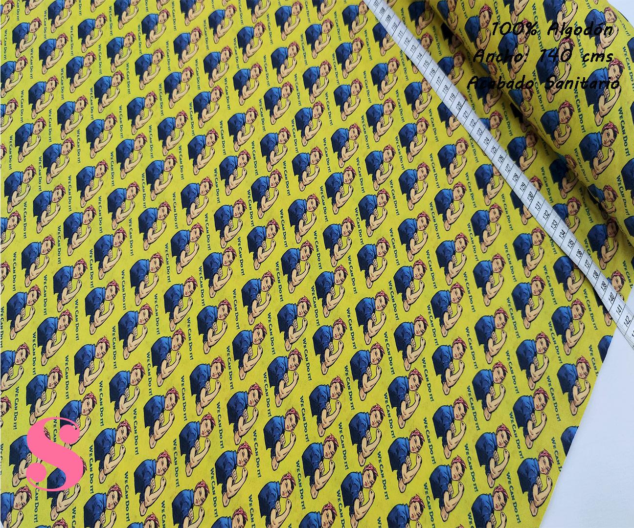 H7-rosie-remachadora-acabado-sanitario-hidrofugado-tejidos-algodón-estampado-percal,tejidos con acabado sanitario,telas con certificado AITEX,Estampado Hidrófugo Antibacteriano Rosie the Riveter