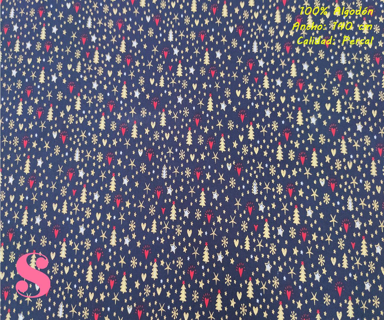 623-adornos-dorados-fondo-marino-navidad-tejidos-algodón-estampado-percal,Tejido Estampado Mini Adornos de Navidad fondo Marino