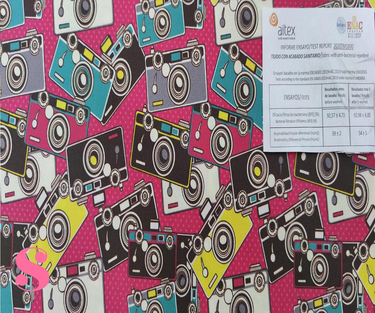 H10-camaras-fotos-retro-acabado-sanitario-hidrofugado-tejidos-algodón-estampado-percal,tejidos con acabado sanitario,telas con certificado aitex,Estampado Hidrófugo Antibacteriano Cámara Fotos Retro