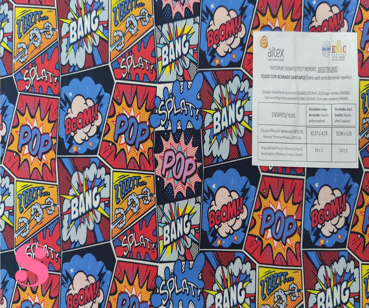 H21-comic-splat-acabado-sanitario-hidrofugado-tejidos-algodón-estampado-percal,tejido con acabado sanitario,tela con licencia AITEX,Estampado Hidrófugo Antibacteriano Comic Splat