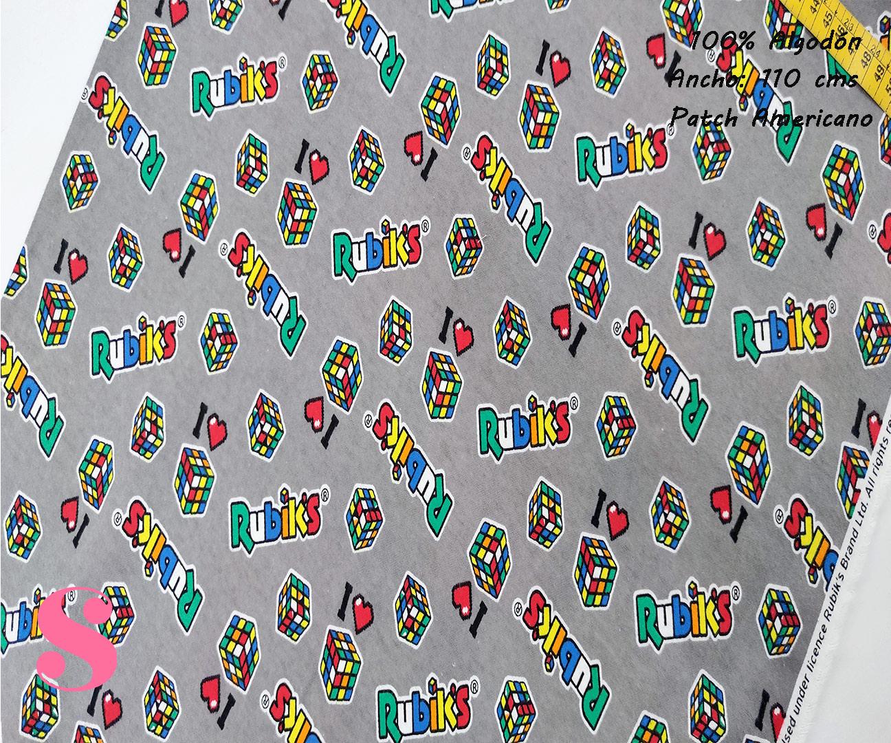 595-cuadro-rubik-otoño-invierno-tejidos-algodón-estampado-percal,telas frikis,estampados juveniles frikis,rubik's,Franela Estampada Cubo de Rubik