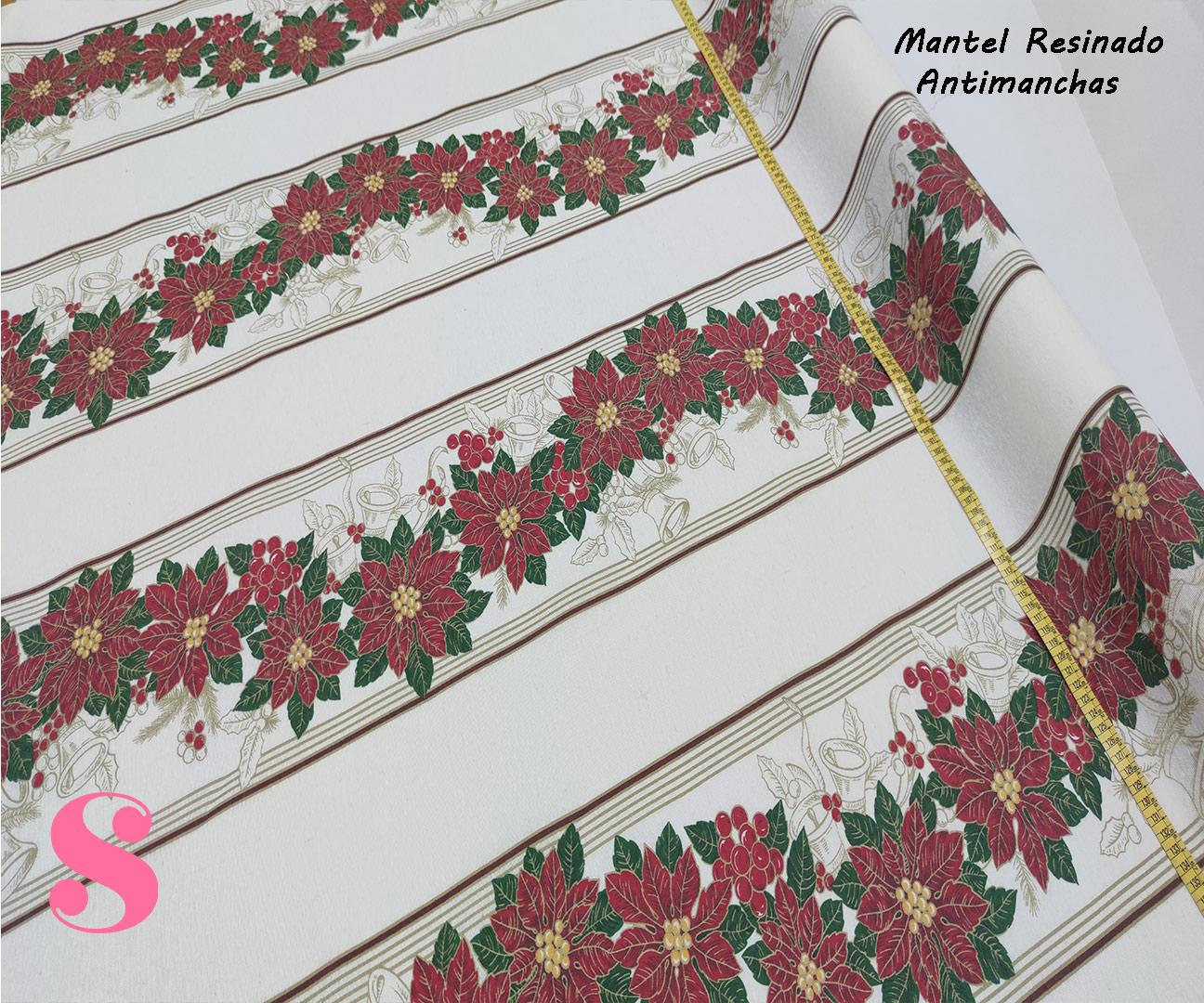 flor-navidad-campanas-mantel-resinado-antimanchas-navidad-algodon,Mantel Resinado Antimanchas Navidad fondo Blanco