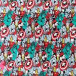 marvel-superheroes-patch-americano-otoño-invierno-tejidos-algodón-estampado-percal,telas super héroes,telas frikis,Tejido Estampado Los Vengadores Marvel Patch Americano