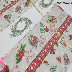 624 Mantel de Navidad Half Panamá Estampado Adornos Variados