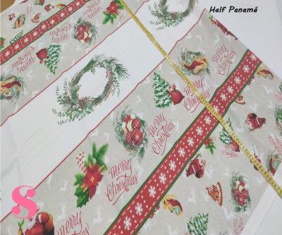 merry-chritsmas-adronos-mantel-half-panama-antimanchas-navidad-algodon,Mantel de Navidad Half Panamá Estampado Adornos Variados