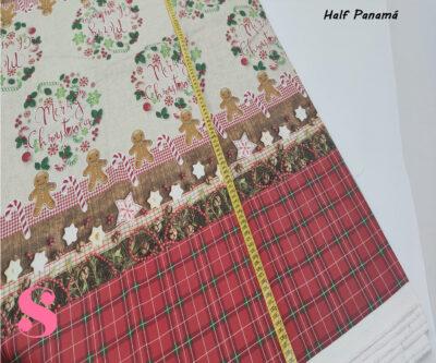 merry-chritsmas-mantel-half-panama-antimanchas-navidad-algodon,Mantel de Navidad Half Panamá Estampado Dulces Navideños