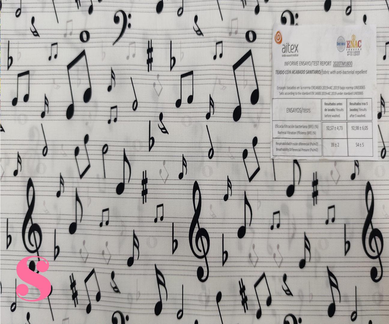 H22-notas-musicales-acabado-sanitario-hidrofugado-tejidos-algodón-estampado-percal,telas con acabado sanitario,tejidos con certificado por AITEX