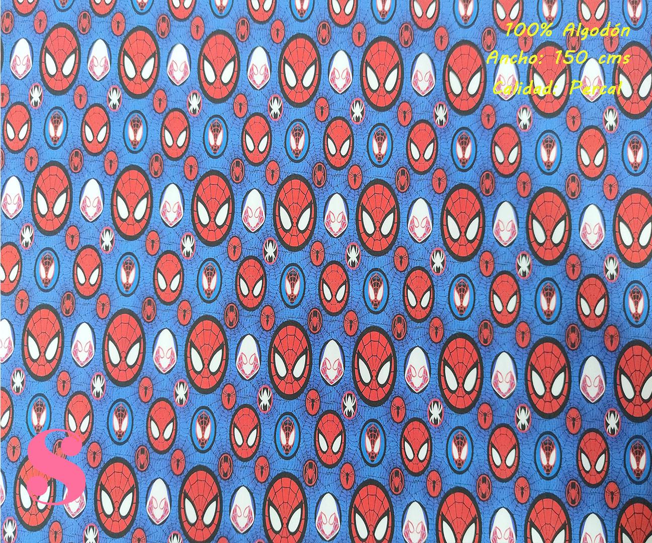 611-spiderman-stickers-marvel-tejidos-algodón-estampado-percal,telas super héroes,estampados de super héroes,Tejido Estampado Spiderman Stikers