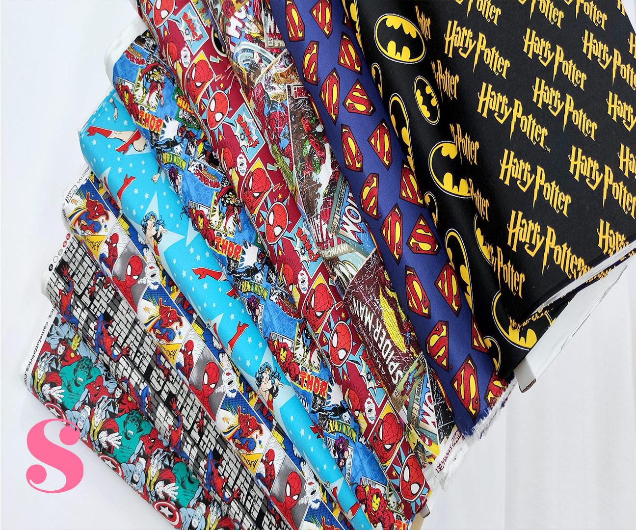 597-comic-spiderman-telaraña-america-otoño-invierno-tejidos-algodón-estampado-percal,telas super héroes,telas frikis,Tejido Estampado Spiderman Power Patch Americano